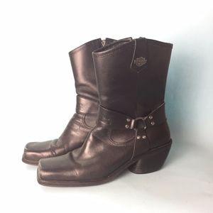 VTG 1990s Black Leather Harley Davidson Boots